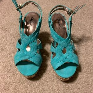 Women's Qupid brand teal wedges